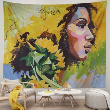 Black Art African American Women Sunflower Hair Tapestry
