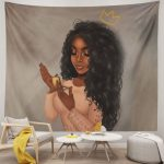 Black Art Beautiful Afro Woman African American With Queen Crown Tapestry