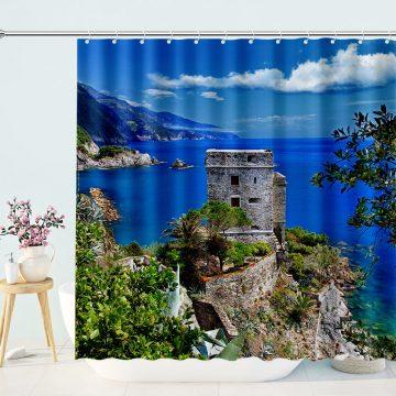Blue Ocean Beach Mountains Landscape Shower Curtain