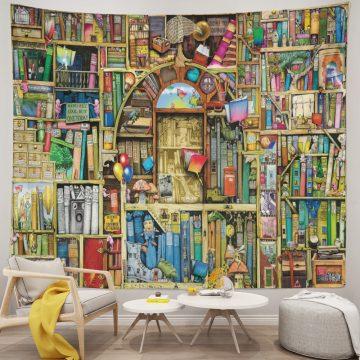 Bookshelf Digital Art Tapestry Wall Hanging