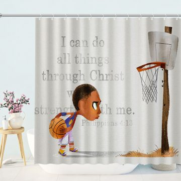 Boy Play Basketball Shower Curtain