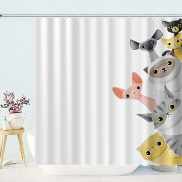 Cat And Dog Peek Shower Curtain