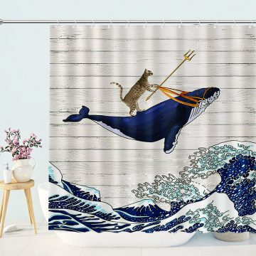 Cat Riding Whale in Ocean Wave on Vintage Wooden Bathroom Curtains