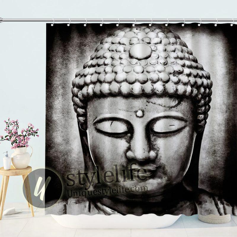 Chinese Buddha Head Shower Curtain