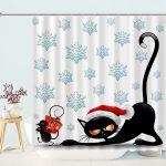Christmas cats and mouse cartoon Bathroom Shower Curtain