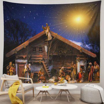 Christmas Tapestry Wall Hanging Starry Sky Jesus Nativity