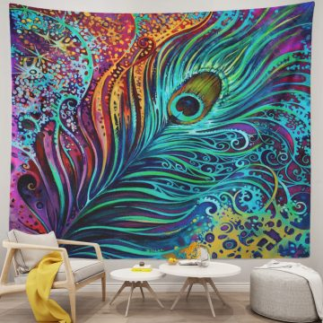 Colorful Peacock Feather Tapestry