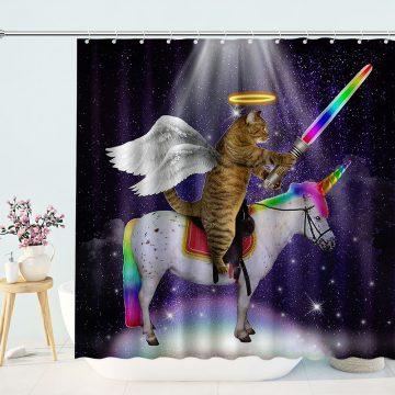 Commander Cat Rides Unicorn Shower Curtain