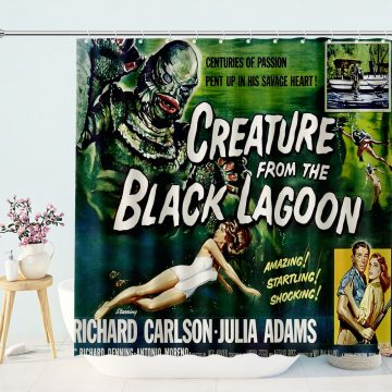 Creature from the Black Lagoon vintage horror movie poster Shower Curtain