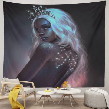 Crown Woman White Hair African American tapestry