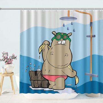 Cute Hippo Take Bath Shower Curtain