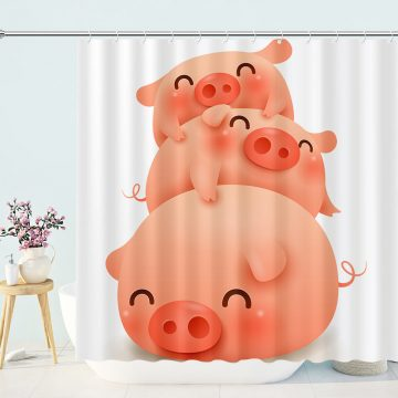 Cute Pink Piggy Shower Curtain
