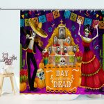 Day of Dead skull in Costume Shower Curtain