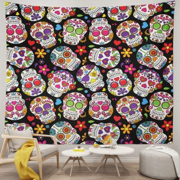 Day of The Dead Colorful Vintage Sugar Skull Tapestry