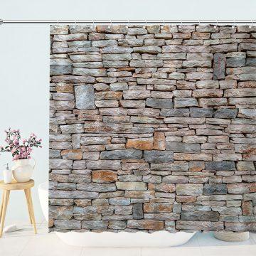 Decorative Stonewall Bathroom Shower Curtain