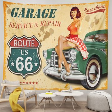 Diner Route 66 Poster Vintage Wall Tapestry