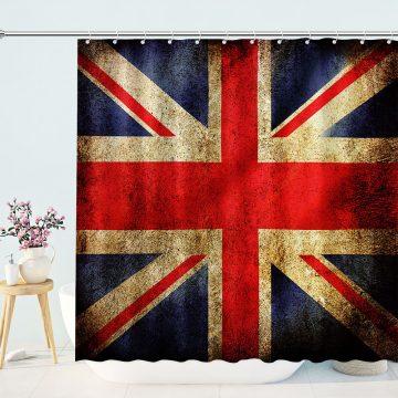 DistressedBritish Union Jack Flag Shower Curtain