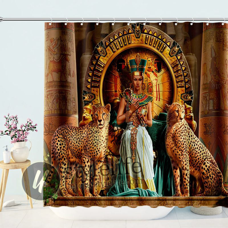 Egyptian Queen Leopards Shower Curtain