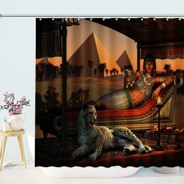 Egyptian Queen With Leopard Shower Curtain
