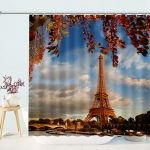 Eiffel Tower Print Decorative Bathroom Curtain