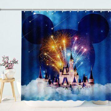 Fantasy Castle Cartoon Shower Curtain Decor Fairy Tale World Kid Bathroom Curtain