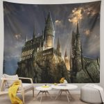 Fantasy Magic Night Scenic Castle Tapestry