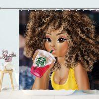 Fashion-African-Girl-Drinking-Shower-Curtain