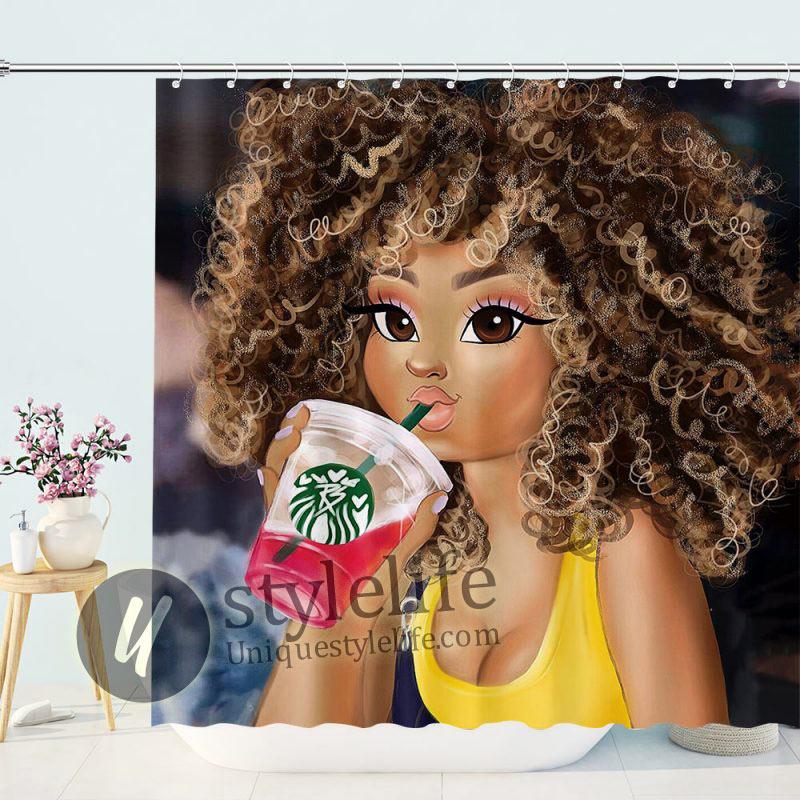 Fashion African Girl Drinking Shower Curtain