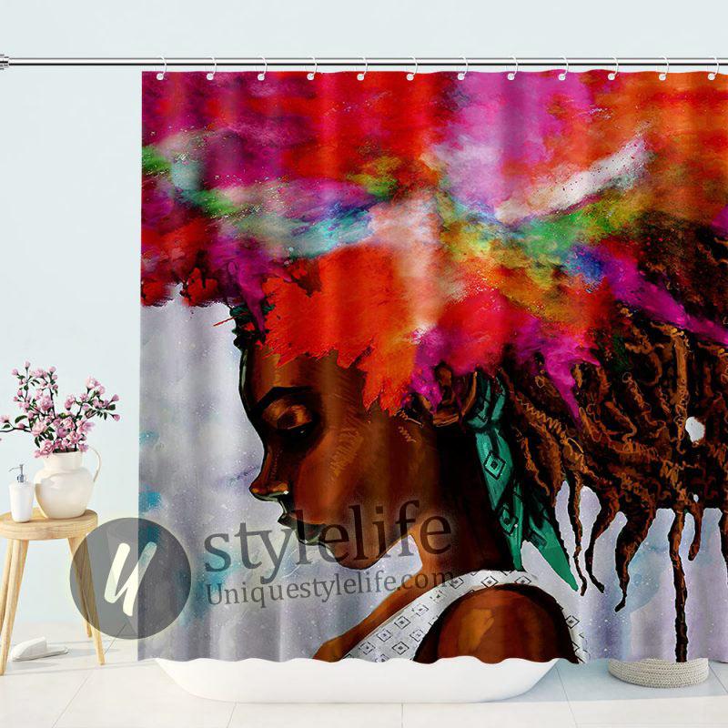 Fashion Black Girl Shower Curtain