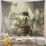 First World War Sailboat Warship Vintage Tapestry