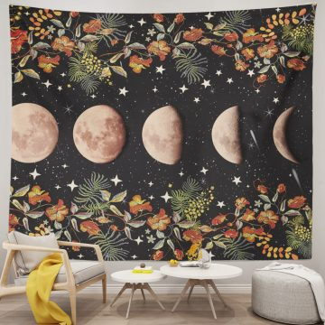Flowers Moon Phase Tapestry Moonlit Garden Tapestry