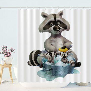 Fox Mother Baby Bath Shower Curtain