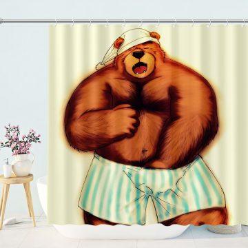 Funny Animal Bear Shower Curtain