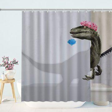 Funny Bathing Dinosaur Shower Curtain