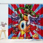 Rat Fink Riding Flying Eyeball Cruisin Time Metal Sign Cartoon Shower Curtains