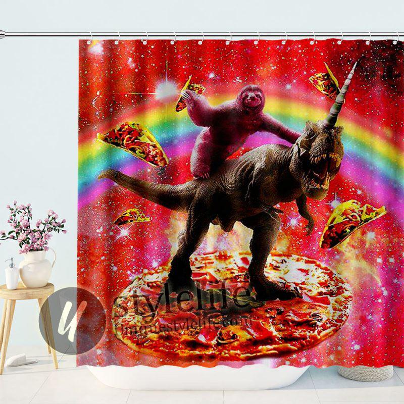 Funny Sloth Ride Dinosaur Unicorn and Pizza Shower Curtain