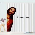 Funny Unique Jesus Peeking Shower Curtain