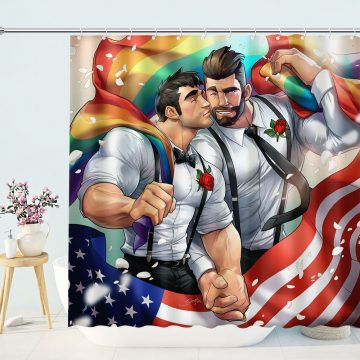Gay Lover Polyester Waterproof Fabric Shower Curtain