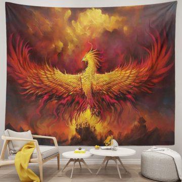 Golden Red Burning Phoenix Volcanic Ancient Mystic Unique Tapestries