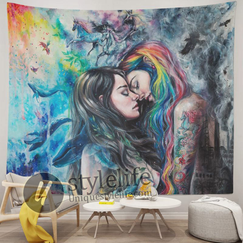 Gothic Girl Lace Love LGBT Lesbian Tapestry
