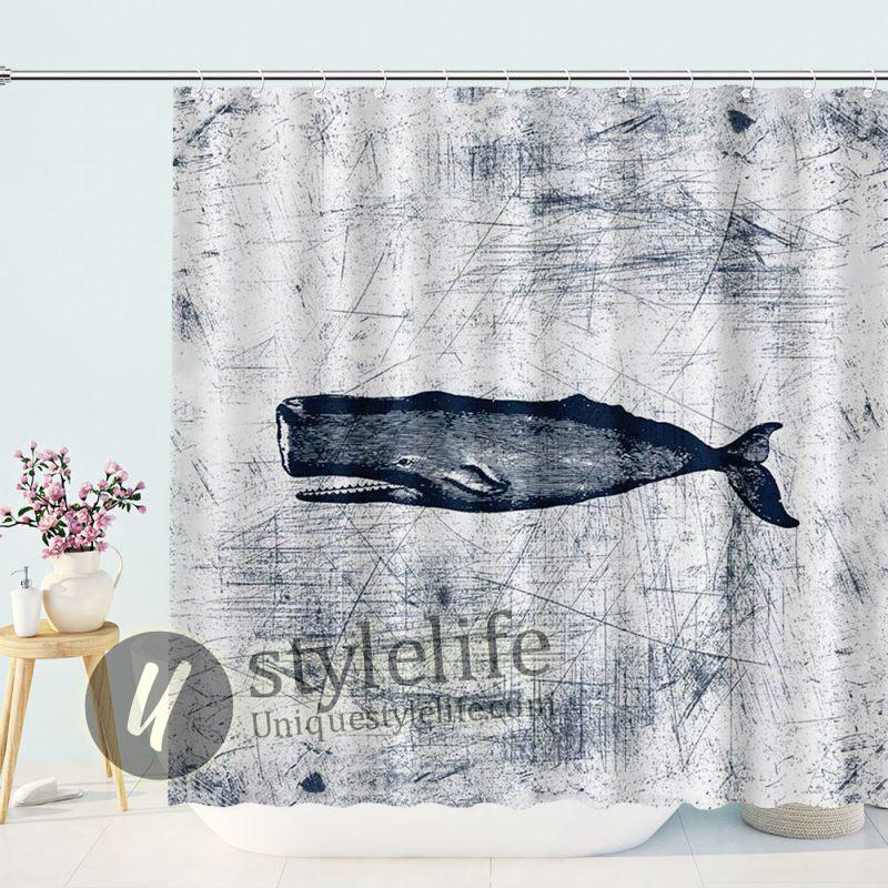 Graffiti Nautical Whale Shower Curtain