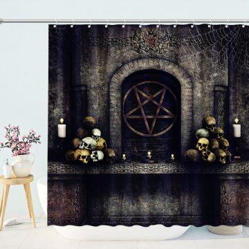 Halloween Satan Symbol Skulls Shower Curtain