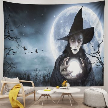 Halloween Witch Clairvoyant In A Spooky Night Funny Tapestry