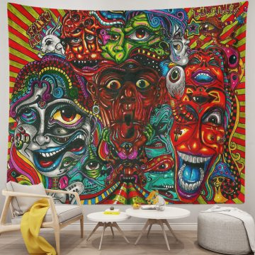 Hippie Psychedelic Abstract Monster Tapestry