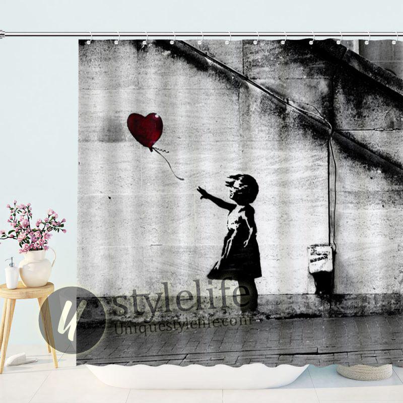 Hope Balloon Girl Shower Curtain