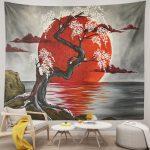 Japanese Lake Crimson Moon Sakura Cherry Tree Tapestry