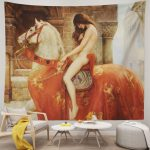 Lady Godiva on Horse Woven Unique Tapestries