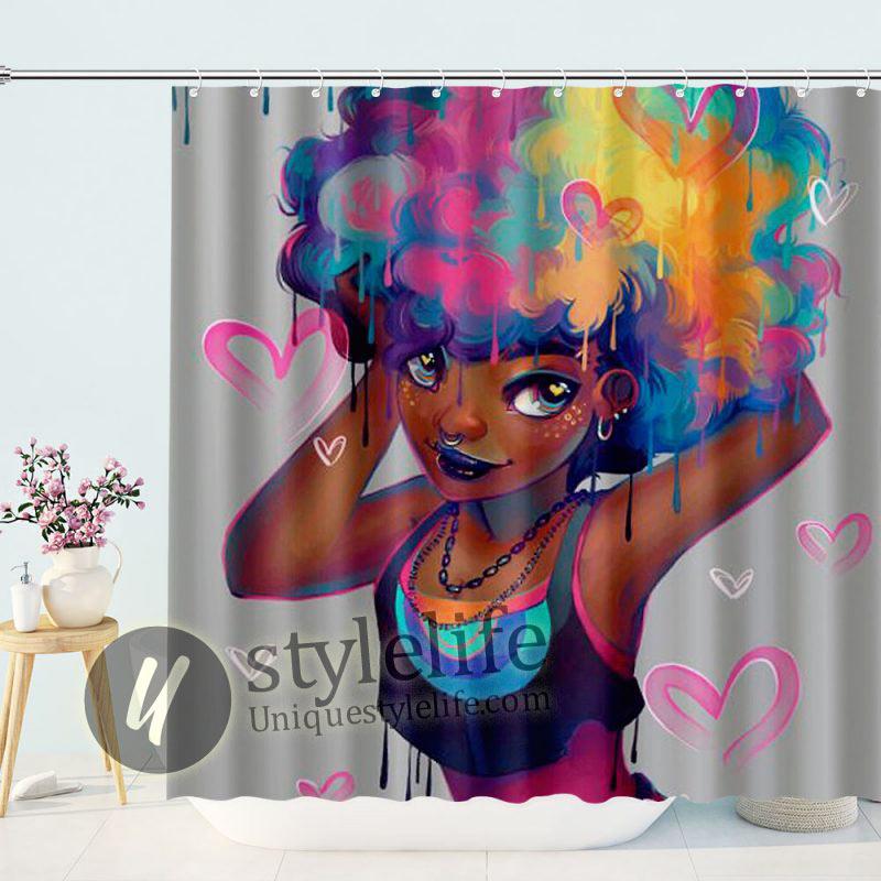 Personalized Liberty Art Peyton black girl magic shower curtain Waterproof