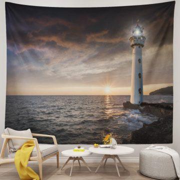Lit Lighthouse Beach Tapestry