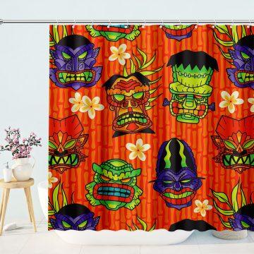 Monster tiki shower curtain